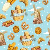 Bakery hand drawn seamless pattern� Stock Photo
