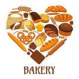 Bakery heart sign of bread, pastry, dessets Royalty Free Stock Photography