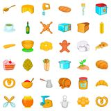 Bakery house icons set, cartoon style Royalty Free Stock Images