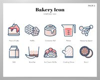 Bakery icon LineColor pack. Bakery vector illustration in line color design royalty free illustration