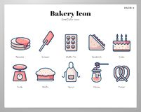 Bakery icon LineColor pack. Bakery vector illustration in line color design vector illustration