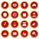 Bakery icon red circle set Royalty Free Stock Photos