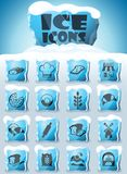 Bakery icon set. Bakery vector icons frozen in transparent blocks of ice stock illustration
