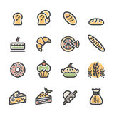 Bakery icon set, flat line color version, vector eps10 Royalty Free Stock Image