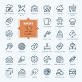 Bakery icon set - outline icon collection, vector Royalty Free Stock Photo