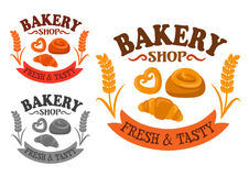Bakery icon with sweet buns and croissant Royalty Free Stock Photos