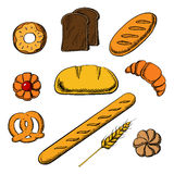 Bakery icons with bread and pastry. Fresh bakery icons with round loaf of rye bread encircled by long loaf, toasts, french baguette, salty pretzel and sweet stock illustration
