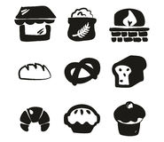 Bakery Icons Freehand Fill Stock Photography