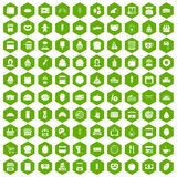 100 bakery icons hexagon green Stock Image
