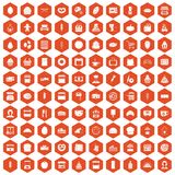 100 bakery icons hexagon orange. 100 bakery icons set in orange hexagon isolated vector illustration Stock Image