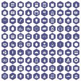 100 bakery icons hexagon purple Royalty Free Stock Photos
