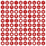 100 bakery icons hexagon red. 100 bakery icons set in red hexagon isolated vector illustration Stock Images