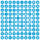 100 bakery icons set blue. 100 bakery icons set in blue hexagon isolated vector illustration Stock Images