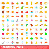 100 bakery icons set, cartoon style. 100 bakery icons set in cartoon style for any design vector illustration Stock Photo