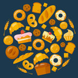 Bakery icons set in flat style Stock Photo