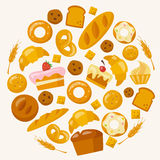 Bakery icons set in flat style Stock Photos
