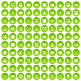100 bakery icons set green circle. Isolated on white background vector illustration Royalty Free Stock Photography