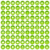 100 bakery icons set green. 100 bakery icons set in green circle isolated on white vectr illustration Stock Illustration