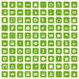 100 bakery icons set grunge green Royalty Free Stock Images