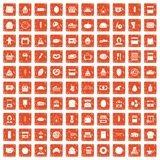 100 bakery icons set grunge orange. 100 bakery icons set in grunge style orange color isolated on white background vector illustration Stock Photo