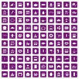 100 bakery icons set grunge purple. 100 bakery icons set in grunge style purple color isolated on white background vector illustration Royalty Free Stock Photos