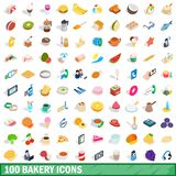 100 bakery icons set, isometric 3d style. 100 bakery icons set in isometric 3d style for any design illustration vector illustration