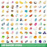 100 bakery icons set, isometric 3d style Royalty Free Stock Image