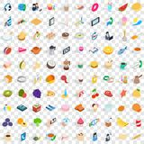 100 bakery icons set, isometric 3d style. 100 bakery icons set in isometric 3d style for any design vector illustration Stock Images
