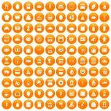100 bakery icons set orange. 100 bakery icons set in orange circle isolated on white vector illustration Stock Photos