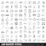 100 bakery icons set, outline style. 100 bakery set in outline style for any design illustration vector illustration
