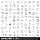 100 bakery icons set, outline style Stock Photography