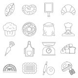 Bakery icons set, outline style. Bakery icons set. Outline illustration of 16 bakery vector icons for web Stock Photo