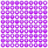 100 bakery icons set purple. 100 bakery icons set in purple circle isolated on white vector illustration Royalty Free Illustration
