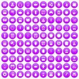 100 bakery icons set purple. 100 bakery icons set in purple circle isolated on white vector illustration Stock Image