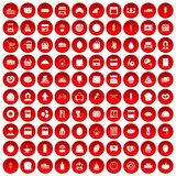 100 bakery icons set red. 100 bakery icons set in red circle isolated on white vector illustration Royalty Free Stock Photo