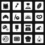 Bakery icons set squares vector. Bakery icons set in white squares on black background simple style vector illustration Royalty Free Stock Image