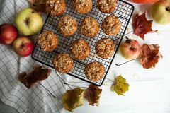 Apple muffins with oat flakes. Bakery idea for whole family: apple muffins with oat flakes royalty free stock images