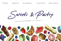 Bakery illustration. pastry banner, background or sweets shop landing page template. horizontal border, frame with