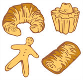 Bakery Illustration Set - French Specialties Vector Illustration Stock Photos