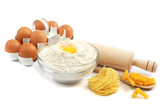 Bakery ingredient. Flour with raw eggs. Royalty Free Stock Photo