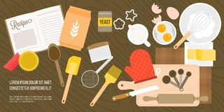 Bakery ingredient and utensils in top view. Such as eggs, milk jug, wheat flour, whisk, measuring spoon on wooden background, flat design vector for banner or Royalty Free Stock Photo