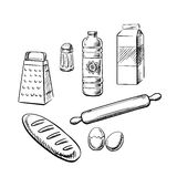 Bakery ingredients and utensil icons Stock Photos