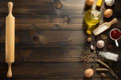 Bakery ingredients on wood Royalty Free Stock Photo