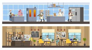 Bakery interior with cafe and kitchen stock illustration