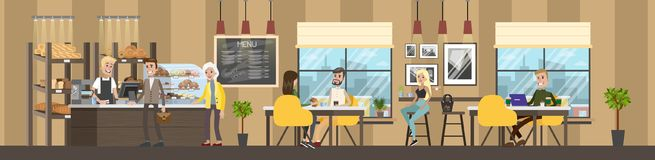 Bakery interior with clients royalty free illustration
