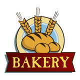 Bakery label. With wheat, bread and buns royalty free illustration