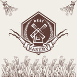 Bakery label. On the background of wheat ears royalty free illustration