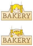 Bakery label with girl. Bakery label with wheat, bread and buns and girl stock illustration