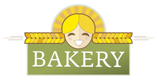Bakery label with girl. Bakery label with wheat, bread and buns and girl and corn grains royalty free illustration
