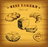 Bakery.  label for loaf, baked goods, croissant,. Bakery.  label for loaf, baked goods Stock Photo